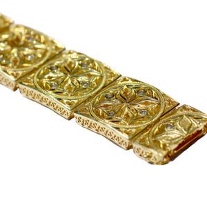 14kt Gold Salon Bracelet  with 1.12ct diamonds