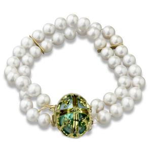 14kt Chateau Collection Fleur di lis Cultured Pearl Bracelet with Blue Topaz