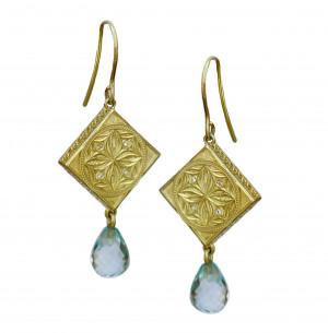 14kt Salon Blue Topaz Briolette Drop Earrings with Shepard Hook