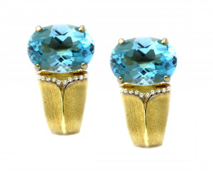 Sojourn Earring with Blue Topaz and .10pts diamonds
