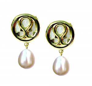 14kt Small Loggia Button Pearl Drop Earring with White Mother of Pearl