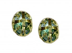 14kt Chateau Colletion Fleur di lis Earring With Blue Topaz