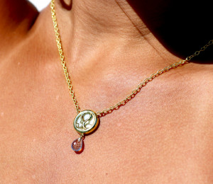 14kt Small Loggia Necklace with White Mother of Pearl Background and  Briolette cut Blue Topaz Drop