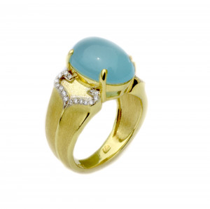 Sojourn Ring with Oval Aqua Cabachon and .16pts diamonds