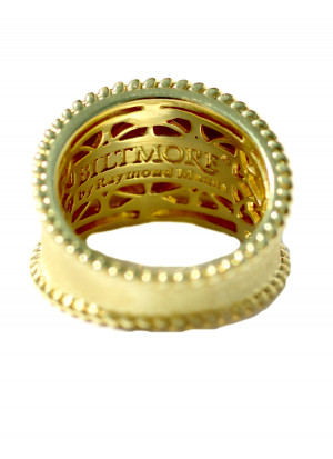 14kt Gold Grandeur Tappered Cigar band with .09pts of bezel set diamonds