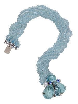Aquamarine Bumble Bee Bracelet with .07pt Diamonds