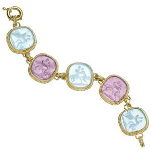 Venetian Glass Mars & Venus Sitting on Bench Bracelet