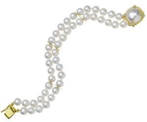 Pearl Bracelet with Twisted Rope Mabe Pearl Clasp and .18pt Diamond Prongs
