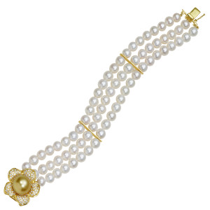 Three Strand Pearl Flower Braelet with Golden South Sea Pearl and 1.17ct Diamonds