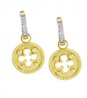 Clover Shield Earring Charm with .08pts Diamonds