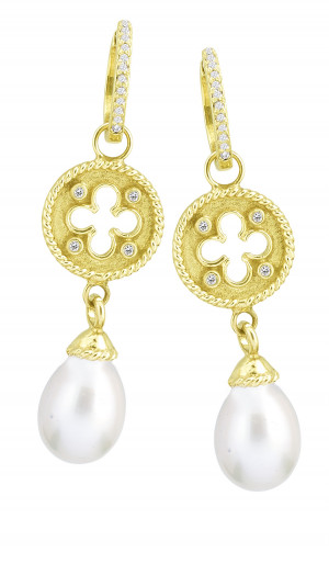 Clover Shield Earring Charm with White Pearl Drop and .08pts Diamonds