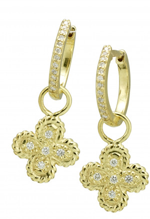 Clover Earring Charms with .15pts Diamonds