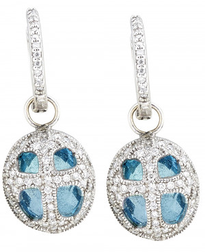 Oval Cross Earring Charms with Blue Topaz and .67pts Diamonds