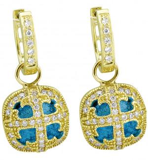 London Blue Topaz Cushion Shaped Cross Earring Charm with .59pts Diamonds