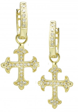 Cross Earring Charms with .27pts Diamonds