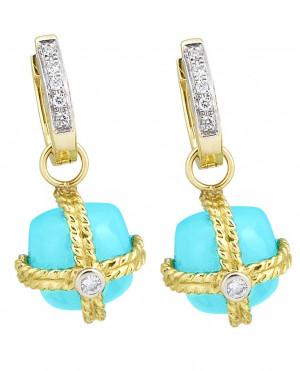 Sleeping Beauty Turquoise Earring Charm with .08pts Diamonds