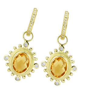 Citrine Earring Charm with .16pts Diamonds