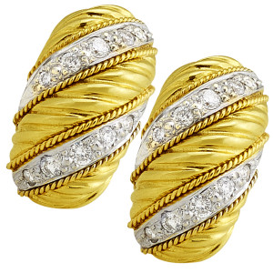 .72pt Diamond Swirl Earring with Twisted Rope