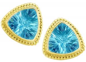 Blue Topaz Laser Cut Trillion Earrings