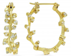 Florentine Textured Branch Hoops with 1.02cts Diamonds