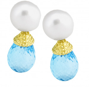 Pearl and Blue Topaz Briolette Drop Earring with Twisted Rope