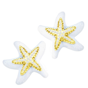 White Agate Starfish Earring with .52pts Diamonds