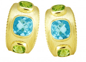 Florentine Textured Earring with Blue Topaz and Peridot