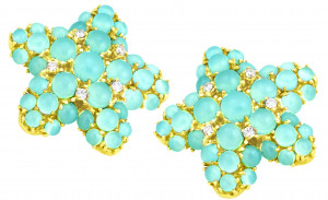 Blue Green Chalcedony Starfish Earring with .40pts Diamonds