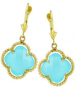 Blue Green Chalcedony Clover Earrings