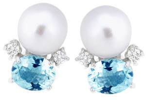 Aquamarine and Pearl Earrings with .40pts Diamonds
