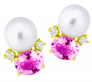 Pink Topaz and Pearl Earring with .40pts Diamonds