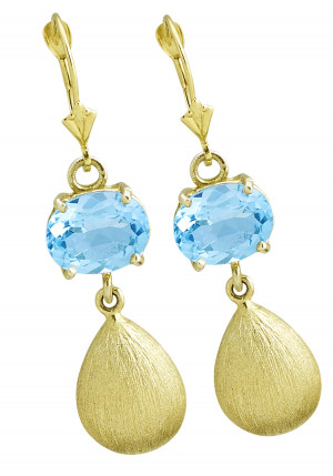 Blue Topaz Earring with Florentine Textured Gold Drop