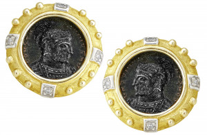 Ancient Roman Constantine Earrings with .16pts Diamonds