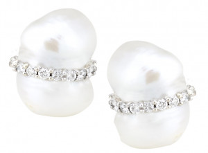 Peanut Pearl Earring with .72pts Diamonds