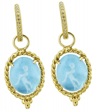 Cherub Playing Trumpet Venetian Glass Earring Charms with Twisted Rope Border
