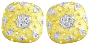 Florentine Textured Cushion Shaped Earring with .59pts Diamonds