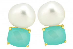 Checkerboard Blue Green Chalcedony Earrings with Off-Shape Pearl