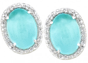 Milky Aquamarine Cabochon Earrings with .56pts Diamonds