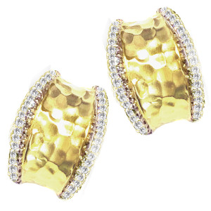 Hammered Earring with .64pts Diamonds