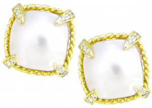 Mabe Pearl Cushion Earring with .36pt Diamond Prongs