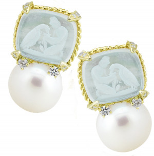 Ganymede with Eagle Venetian Glass Earring with Pearl and .40pts Diamonds