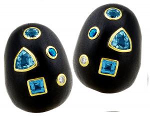 Ebony Wood Earrings with Swiss Blue Topaz and .10pts Diamonds