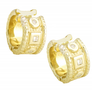 Hammered Earring Cuffs with .32ct of Diamonds