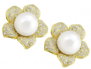 Flower Earring with South Sea Pearl and .94pts Diamonds