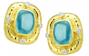 Hammered Aquamarine Buff Cut Cabochon Earrings with .32pts Diamonds