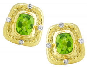 Hammered Peridot Earrings with .32pts Diamonds