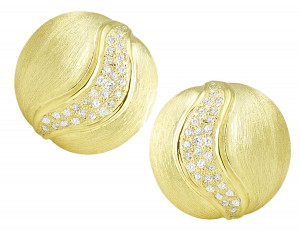 Florentine Textured Earring with .77pts of Pave Set Diamonds