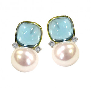 Blue Topaz Cabochon Earring with Pearl and Diamonds
