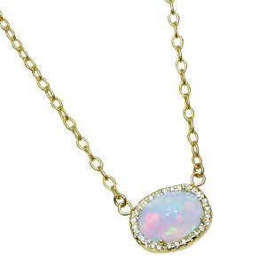 Ethiopian Opal Necklace with .28pts Diamonds