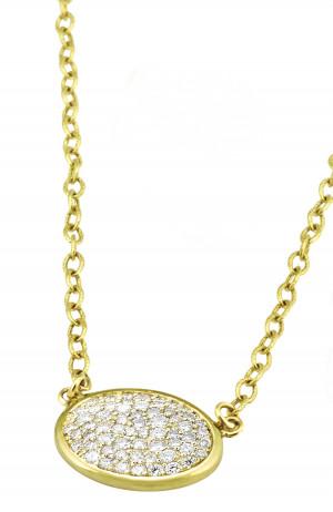 Oval Pave Set Diamond Necklace with .82pts